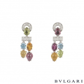 Bvlgari White Gold Multi-Gem Set Allegra Earrings OR853227